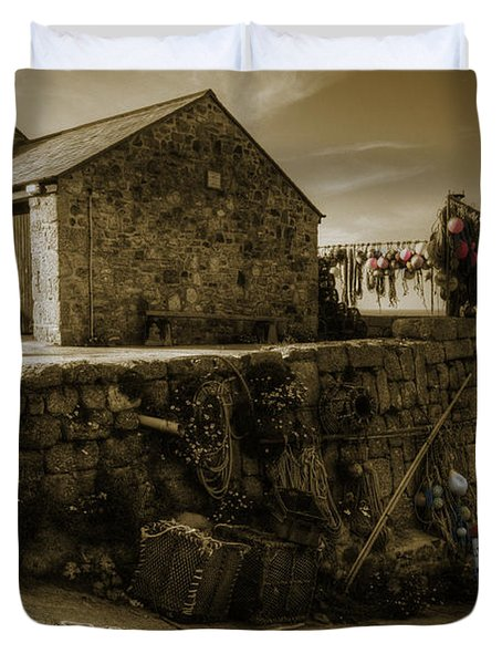 Fishing Boat At Sennen Cove  Duvet Cover by Rob Hawkins