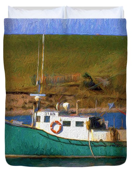 Duvet Cover featuring the digital art Fishing Boat by Cathy Anderson