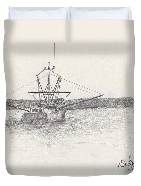 Duvet Cover featuring the drawing Fishing Boat by David Jackson