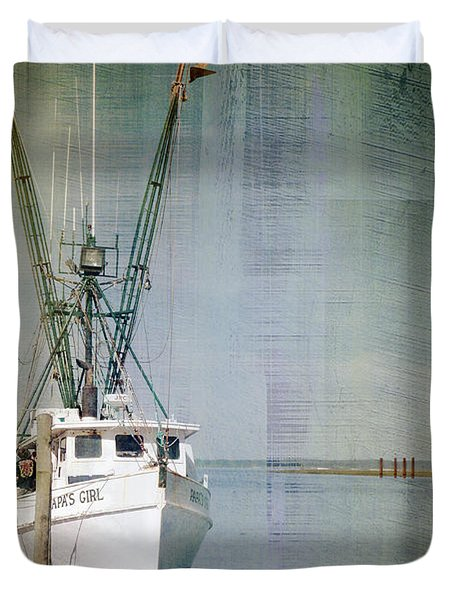 Fishing Boat In Chincoteague Duvet Cover