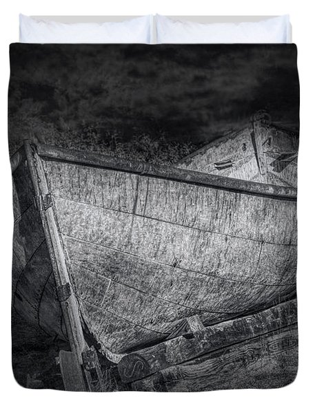Fishing Boat On Shore In Black And White Duvet Cover by Randall Nyhof