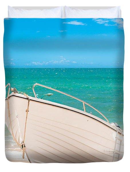 Fishing Boat On The Beach Algarve Portugal Duvet Cover by Amanda Elwell
