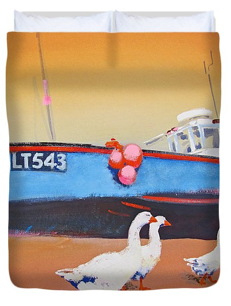 Fishing Boat Walberswick With Geese Duvet Cover