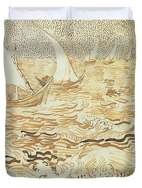 Fishing Boats At Saintes Maries De La Mer Duvet Cover by Vincent van Gogh