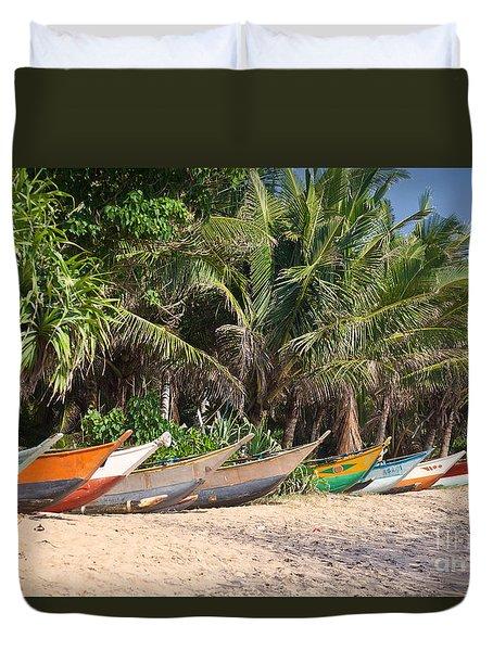 Fishing Boats B Mirissa Beach Duvet Cover by Liz Leyden