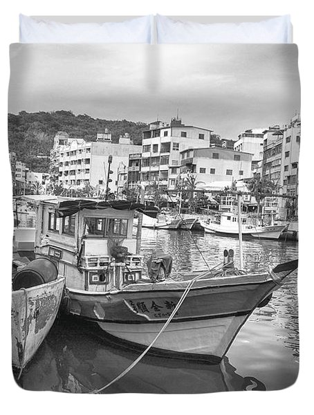 Fishing Boats B W Duvet Cover