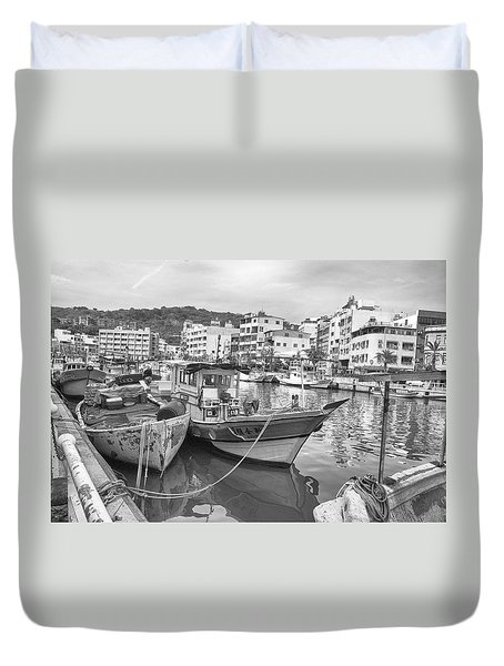 Fishing Boats B W Duvet Cover