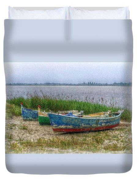 Fishing Boats Duvet Cover by Hanny Heim