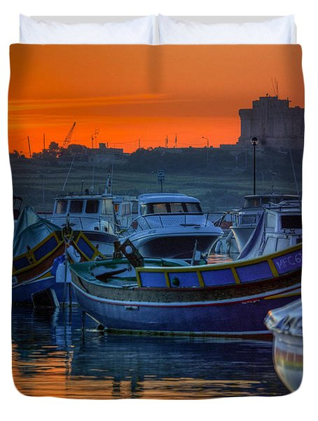 Fishing Boats In Birzebuggia Harbour Duvet Cover