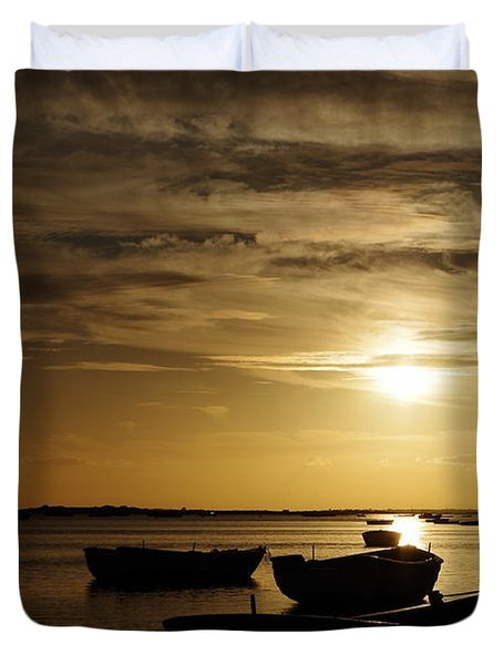 Fishing Boats In Cacela Velha Duvet Cover
