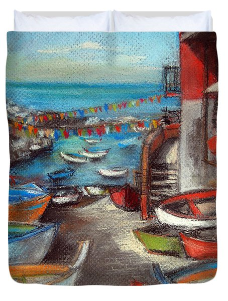Fishing Boats In Riomaggiore Duvet Cover