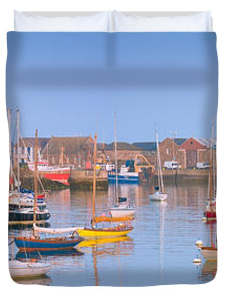 Fishing Boats In The Howth Marina Duvet Cover