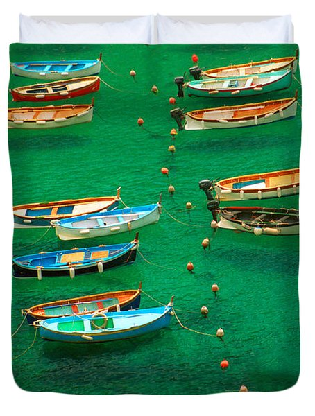 Fishing Boats In Vernazza Duvet Cover