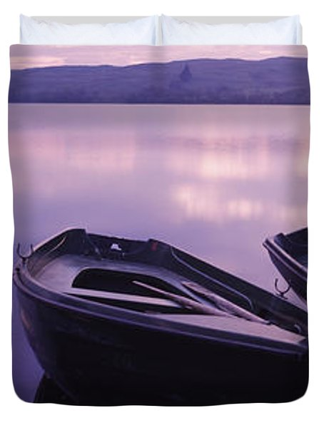 Fishing Boats Moored In A Lake, Loch Duvet Cover