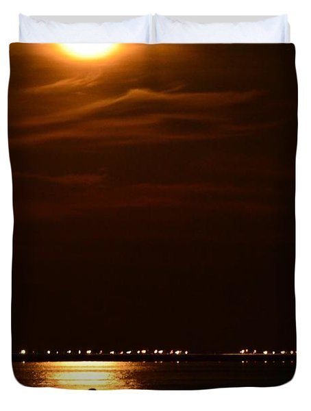Fishing By Moonlight01 Duvet Cover by Jeff at JSJ Photography