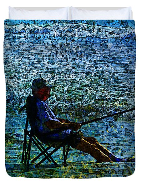 Fishing Duvet Cover by Claire Bull