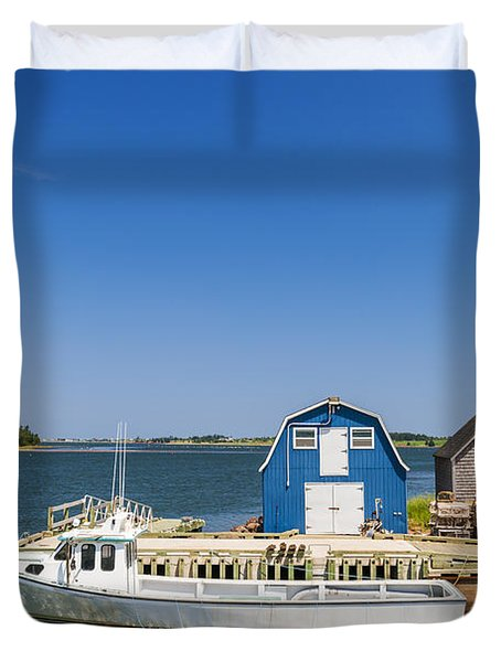 Fishing Dock In Prince Edward Island Duvet Cover