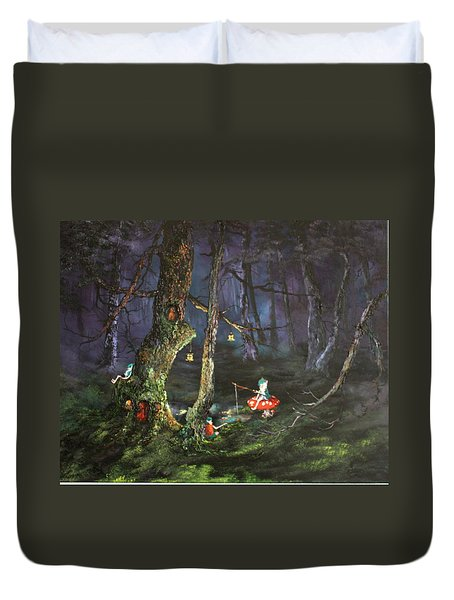 Fishing For Supper On Cannock Chase Duvet Cover