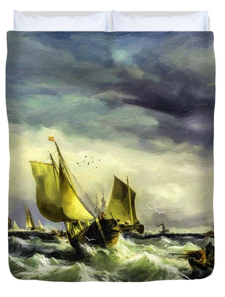 Duvet Cover featuring the digital art Fishing In High Water by Lianne Schneider