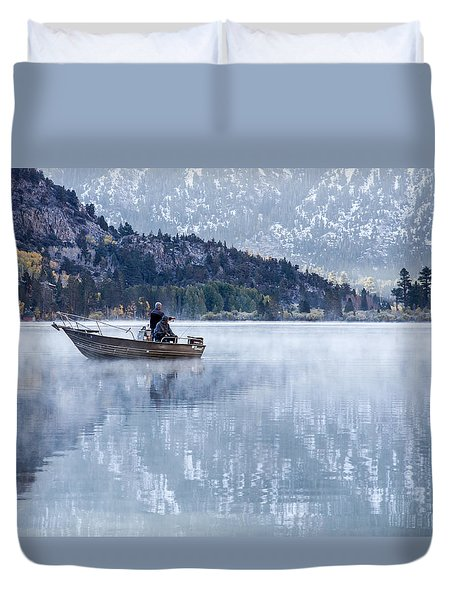 Fishing Into Silver Duvet Cover