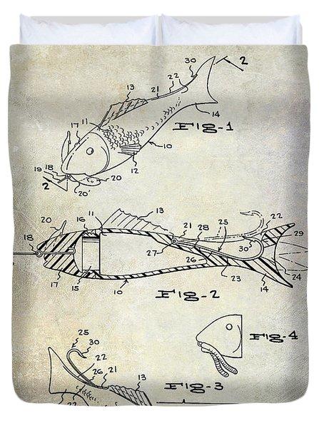 Fishing Lure Patent 1959 Duvet Cover by Jon Neidert