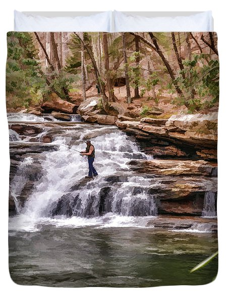 Fishing Mill Creek Falls In West Virginia Duvet Cover by Dan Friend