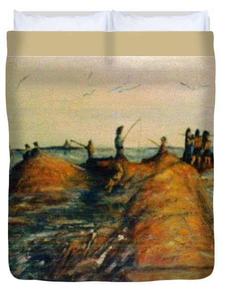 Fishing Near New Haven Duvet Cover