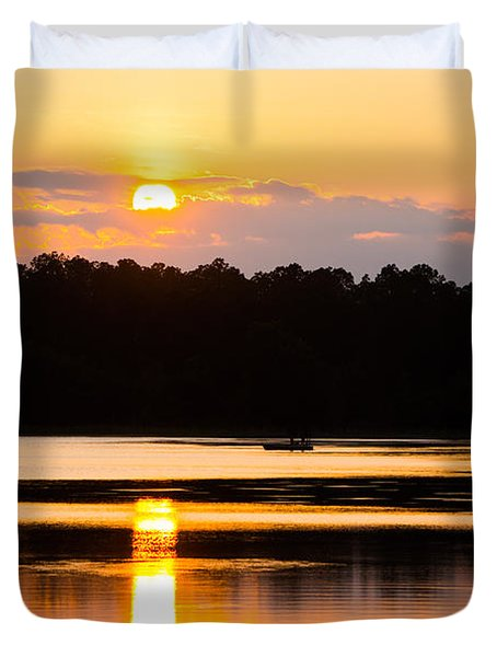 Fishing On Golden Waters Duvet Cover