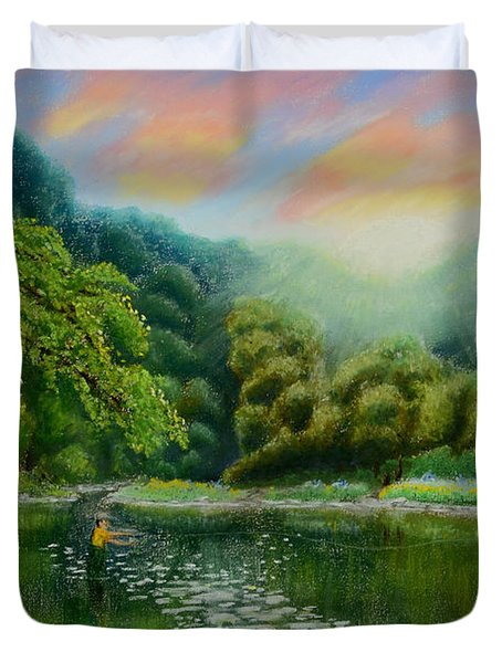 Fishing On The Dix Duvet Cover