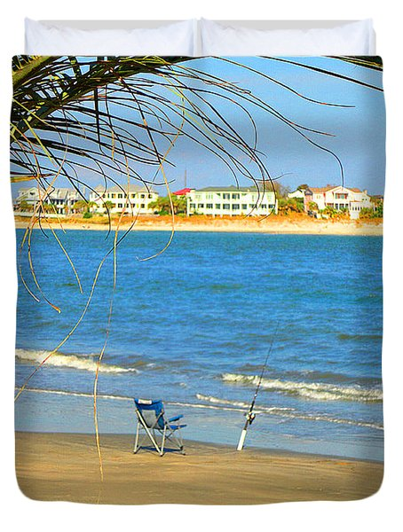 Fishing Paradise At The Beach By Jan Marvin Studios Duvet Cover