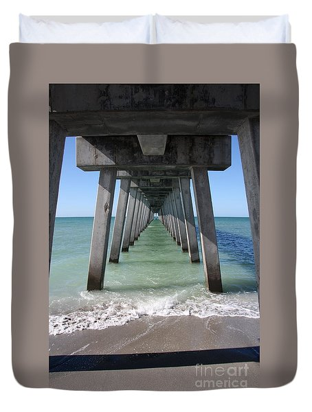 Fishing Pier Architecture Duvet Cover