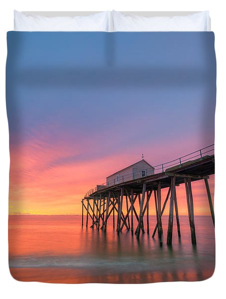 Fishing Pier Sunrise Duvet Cover