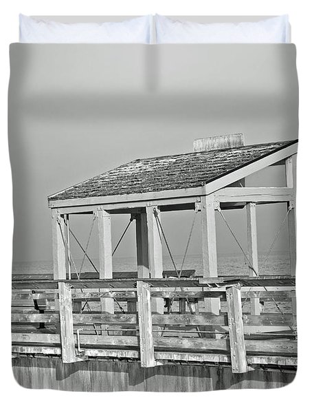 Duvet Cover featuring the photograph Fishing Pier by Tikvah's Hope