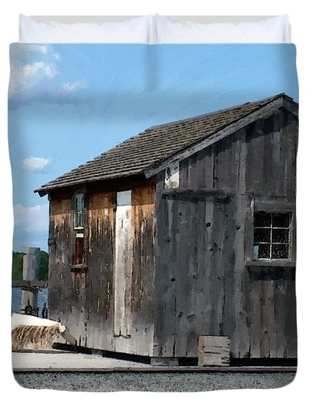 Fishing Shack On The Mystic River Duvet Cover by RC DeWinter