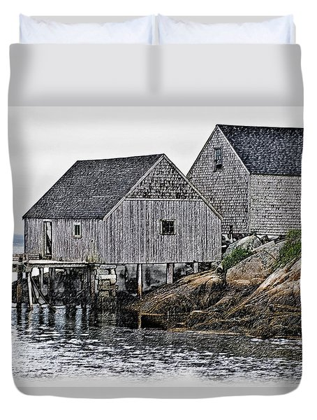 Fishing Sheds At Peggy's Cove Duvet Cover