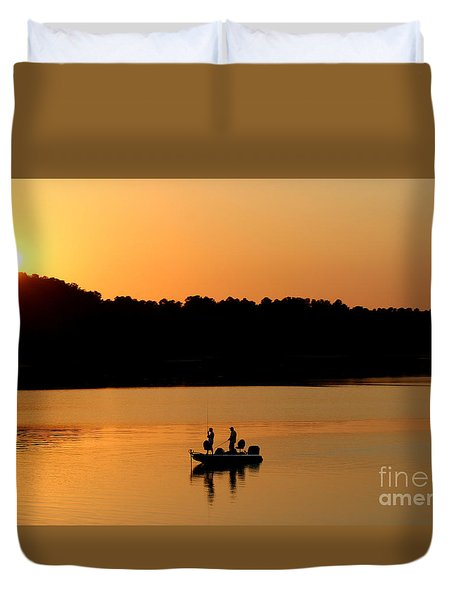 Duvet Cover featuring the photograph Fishing Silhouette  by Kathy  White