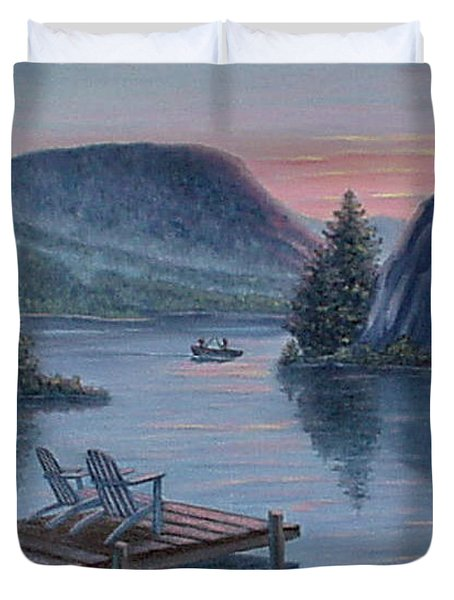 Duvet Cover featuring the painting Fishing Spot For Two by Fran Brooks