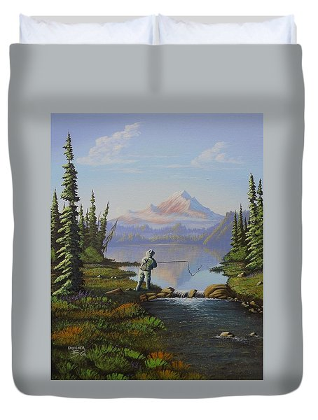 Duvet Cover featuring the painting Fishing The High Lakes by Richard Faulkner