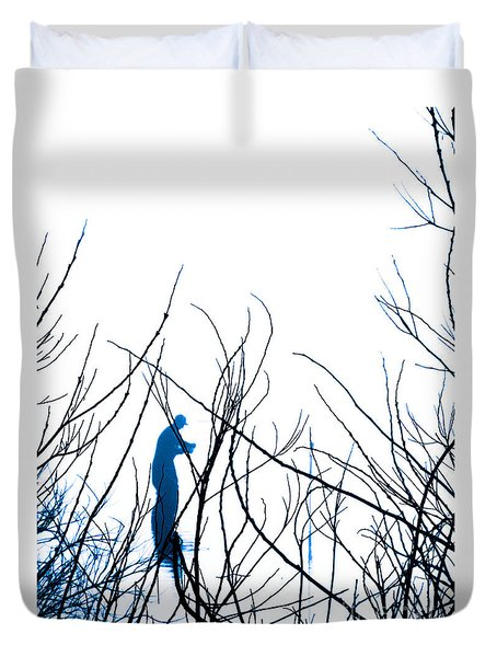 Duvet Cover featuring the photograph Fishing The River Blue by Robyn King