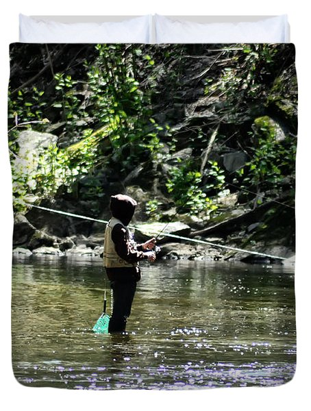 Fishing The Wissahickon Duvet Cover by Bill Cannon