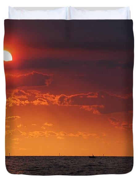 Fishing Till The Sun Goes Down Duvet Cover by Michael Thomas