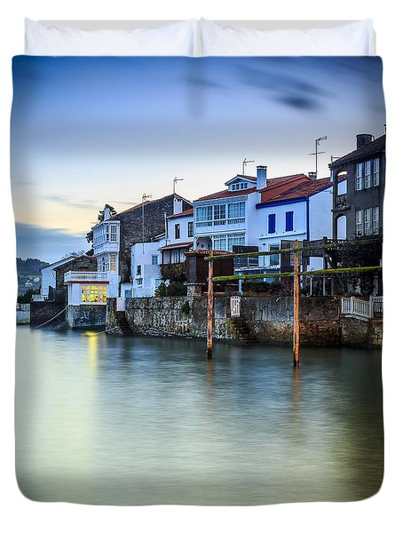 Fishing Town Of Redes Galicia Spain Duvet Cover