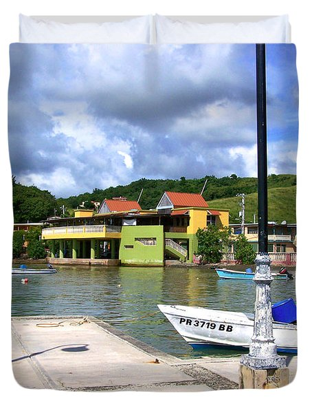 Fishing Village Puerto Rico Duvet Cover