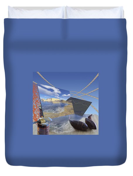 Fishing With Paint Duvet Cover by Jennifer Kathleen Phillips
