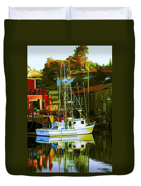 Fish'n Boat At Harbor Duvet Cover