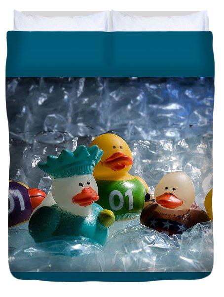 Five Ducks In A Row Duvet Cover