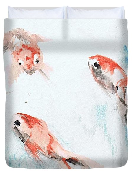 Duvet Cover featuring the painting Five Goldfish by Lauren Heller