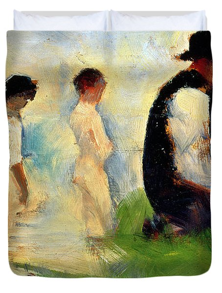 Five Male Figures Possible Preparatory Sketch For The ''bathers At Asnieres.'' Duvet Cover by Georges Pierre Seurat