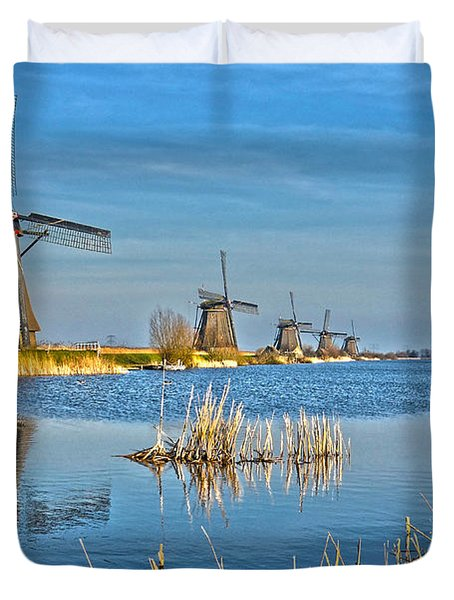 Five Windmills At Kinderdijk Duvet Cover