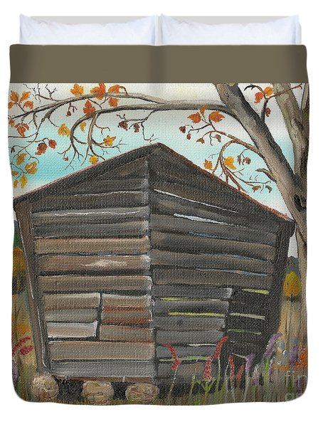 Duvet Cover featuring the painting Autumn - Shack - Woodshed by Jan Dappen